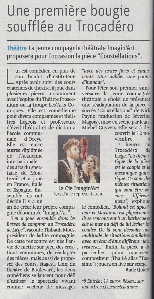 Cie Imagin'Art - Constellations - La Libre 14-10-17